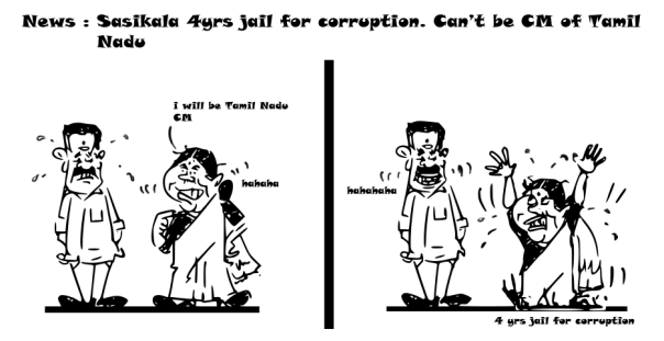 sasikala cartoon, panneerselvam cartoon,